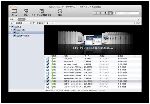 失われたファイルの復元:プレビュー